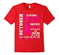 October Is Breast Cancer Awareness Month Shirt Pink Ribbon Red