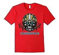 Jacksonville Football Helmet Sugar Skull Day Of The Dead T Shirt Red