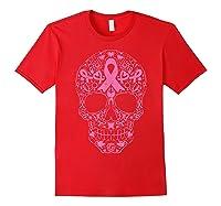 Sugar Skull Pink Ribbon Calavera Breast Cancer Awareness T Shirt Red