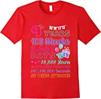 9 Years Old Gifts 9th Birthday Shirt Countdown T-shirt Red