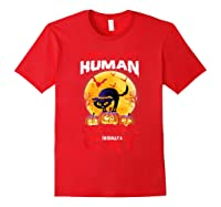 Cat Funny Halloween T-shirt For Girls Adults Red