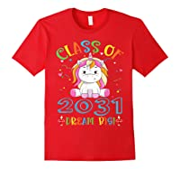Class Of 2031 Grow With Me Unicorn Back To School Shirts Red