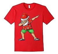 Dabbing Santa Christmas In July Party Hawaiian Santa Beach Shirts Red