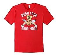 Spongebob Squarepants Good Food Good Mood Text Poster Baseball Shirts Red