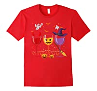 Three Glasses Of Wines Funny Halloween Wine Lover Shirts Red