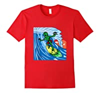 Area-51 Alien Surfing Ocean Wave Lazy Surfer Halloween Gift Tank Top Shirts Red