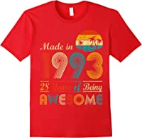 Made In 1993 Vintage Retro 28 Years Old 28th Birthday Gifts T-shirt Red