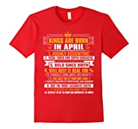 Kings Are Born In April Vintage Birthday Shirts Red