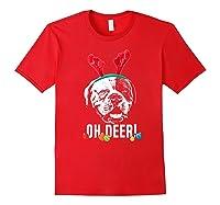 Oh Deer Funny American Bulldog Xmas Premium T-shirt Red