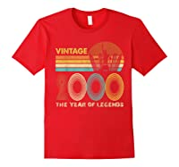 19th Birthday Gift Vintage 2000 T-shirt 19 Years Old T-shirt Red