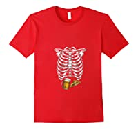 Funny Halloween Skeleton Pregnancy Pizza Beer Xray Apparel Shirts Red