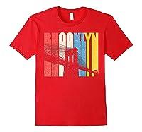 Vintage Brooklyn New York Skyline Retro Ny Shirt Gift Tee Red