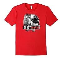 S Daddysaurus Shirt Fathers Day Gift T-rex Dad Dinosaur Raglan Baseball Tee Red