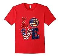 Love Softball Usa Flag 4th Of July Flip Flop Softball Usa Shirts Red