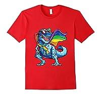 Dinosaur Gay Pride Lgbt Rainbow Flag Lesbian Bisexual T Rex Shirts Red