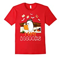Halloween Day Cute Boo Love Books Tee Funny Librarian Gifts T Shirt Red