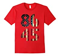 8645 Impeach Trump American Flag T Shirt Red