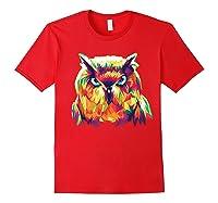 Owl Pop Art Style T Shirt Design Red