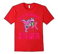 Dinosaur Pink Ribbon Breast Cancer Awareness Month October T Shirt Red