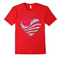 Funny Love Heart Breast Cancer Awareness Pink Ribbon Month Premium T Shirt Red