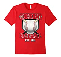 Cincinnati Baseball Retro Vintage Baseball Design Shirts Red