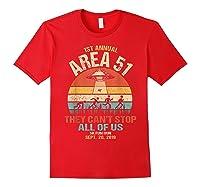 Area 51 5k Fun Run Shirt. Retro Style Funny Ufo, Alien T-shirt Red