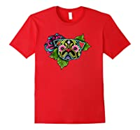 Black Pug Day Of The Dead Sugar Skull Dog Shirts Red