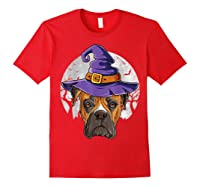 Boxer Witch Hat Funny Halloween Gifts Dog Lover Girls T-shirt Red