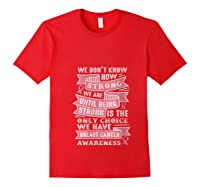 Pink Ribbon Breast Cancer Warrior Awareness Month Believe T Shirt Red