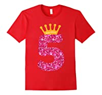 Happy Birthday Shirt, Girls 5th Party 5 Years Old Bday Red