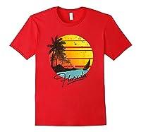 Florida Sunshine State Retro Summer Tropical Beach Shirts Red