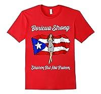 Boricua Strong Shaken But Not Broken Puerto Rican Flag Gift Shirts Red