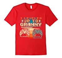 Leveled Up To Granny Vintage Gamer Promoted Shirts Red