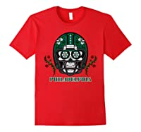 Philadelphia Football Helmet Sugar Skull Day Of The Dead T Shirt Red