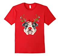 Funny Bulldogs With Antlers Light Christmas Shirts Red