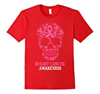 Breast Cancer Awareness Month Skull Halloween Shirts Red