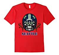 Seattle Football Helmet Sugar Skull Day Of The Dead T Shirt Red