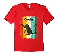 Monkey Shirt Retro 70s Vintage Animal Lover Art Design Tank Top Red