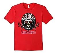 Arizona Football Helmet Sugar Skull Day Of The Dead T Shirt Red