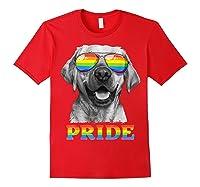Labrador Gay Pride Lgbt Rainbow Flag Sunglasses Funny Lgbtq Shirts Red