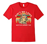 Vintage Ain T No Laws When You Re Drinking Claws Funny Shirt Red