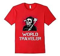 Grim Reaper World Traveler Dark Humor Black Metal Shirts Red