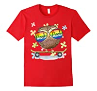 Cool Cute Baby Owl With Sun Glasses On A Skateboard Shirt Red
