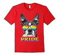 Boston Terrier Gay Pride Lgbt Rainbow Flag Sunglasses Lgbtq T-shirt Red