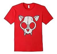 Spooky Cat Skull Halloween Creepy Horror Kitty Skeleton Face T Shirt Red
