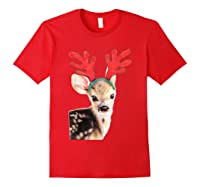 Cute Festive Fawn Wearing Reindeer Antlers Shirts Red