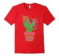 Cactus Christmas Tree Gift Santa Xmas Succulent Plant Lover T-shirt Red