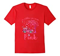In October We Wear Pink Truck And Pumpkin Breast Cancer Tank Top Shirts Red