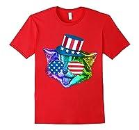 Ally Rainbow Cat Lesbian Gay Pride Gift America Flag Shirts Red