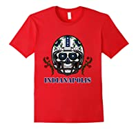 Indianapolis Football Helmet Sugar Skull Day Of The Dead T Shirt Red